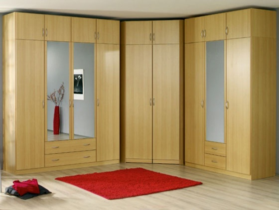 Corner bedroom wardrobe designs with mirror pictures 01
