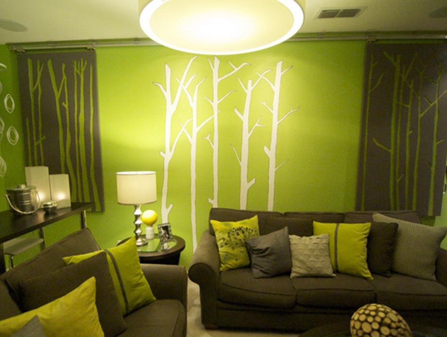 Green wall interior and exterior painting ideas photos 012
