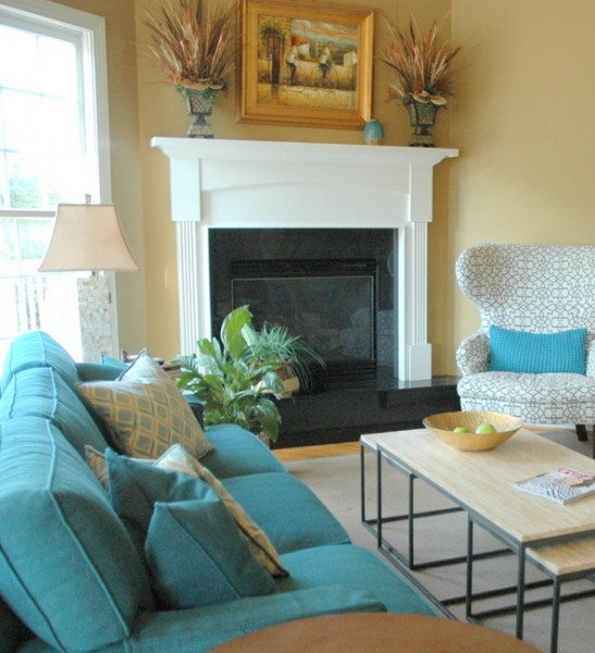 ideal living room furniture arrangement corner fireplace
