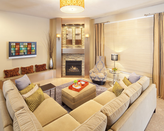 Picture of living room furniture arrangement tips with corner fireplace
