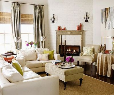 Living room furniture arrangement with corner fireplace for Living room arrangements with fireplace