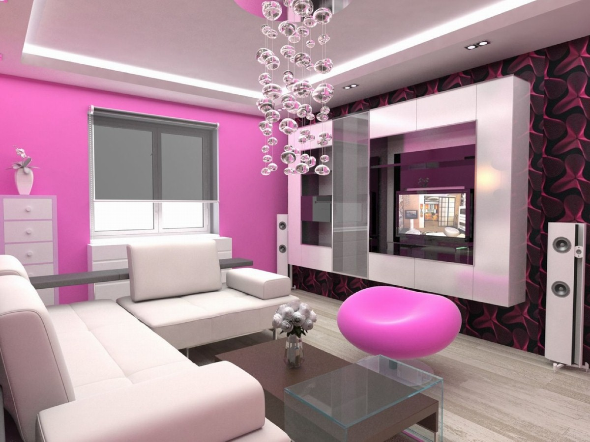 Beautiful pink small apartment sized living room furniture for Room furniture design