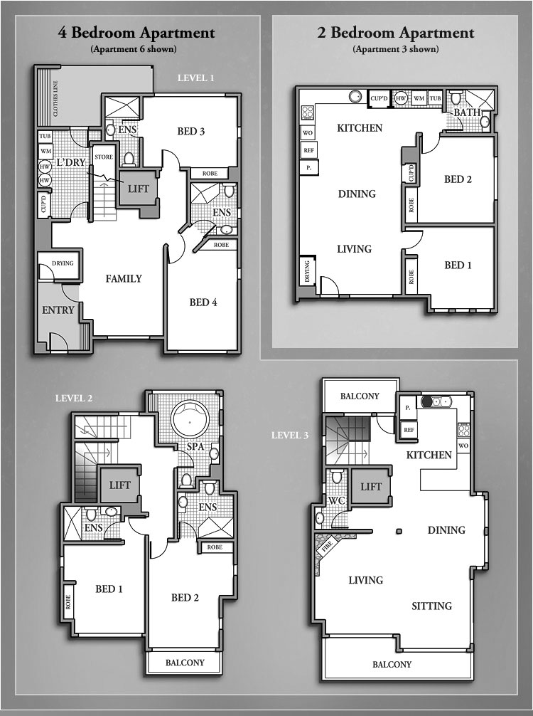 best apartment floor plans 4 bedroom and 2 bedroom photos 09 small