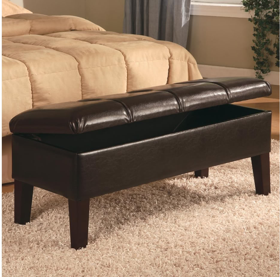 Diy bedroom storage bench seat pictures 03 small room decorating ideas Bench in front of bed