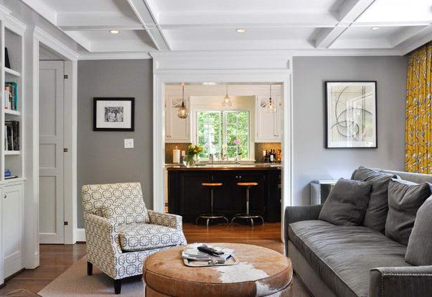 Grey interior painting ideas accent walls family room pictures 01 - Gray interior paint ...