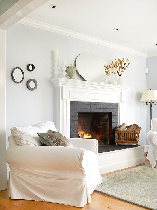 modern painting an interior brick fireplace white image 08