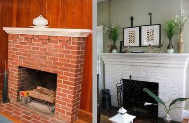 painting a red brick fireplace white before after photos 09