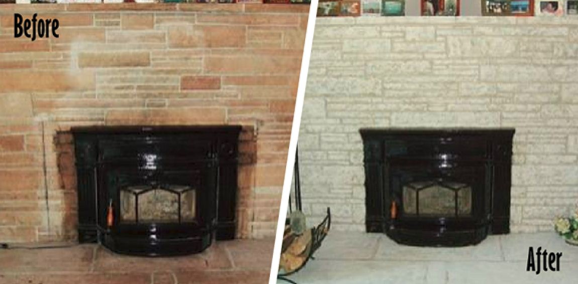 painting brick fireplace before after pictures 4