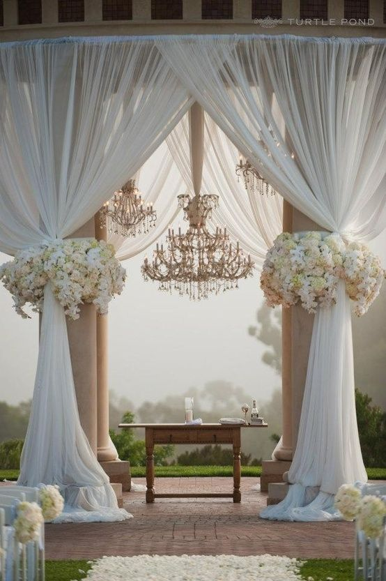 Drapery with outdoor ceremony pillars - simple wedding decorations pic 15
