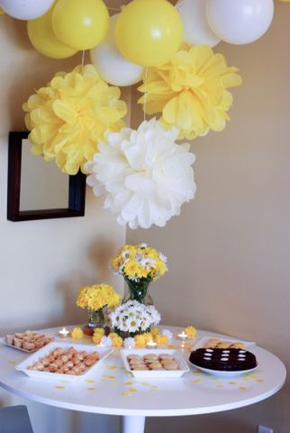 How to make decorations for a baby shower pictures 04 - Decoracion con pompones ...