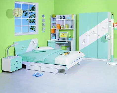 creative simple bedroom design green color for kids images 07