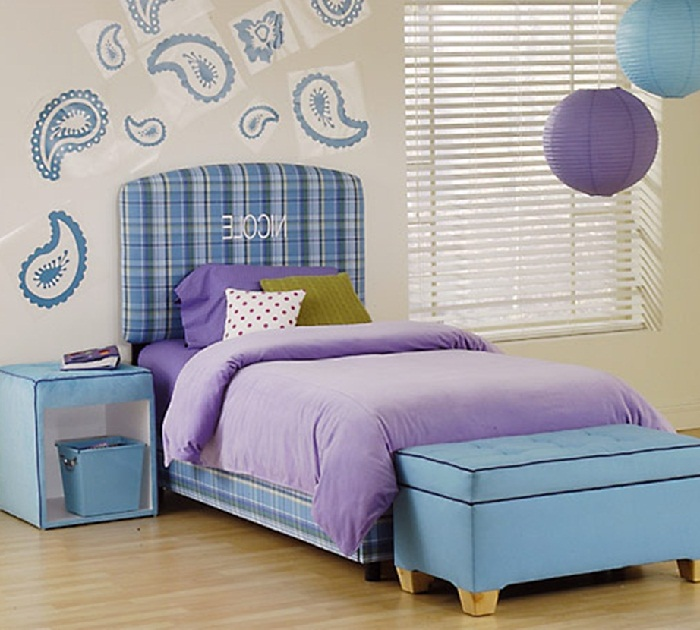 kids bedroom furniture sets design with purple bedding pictures 01