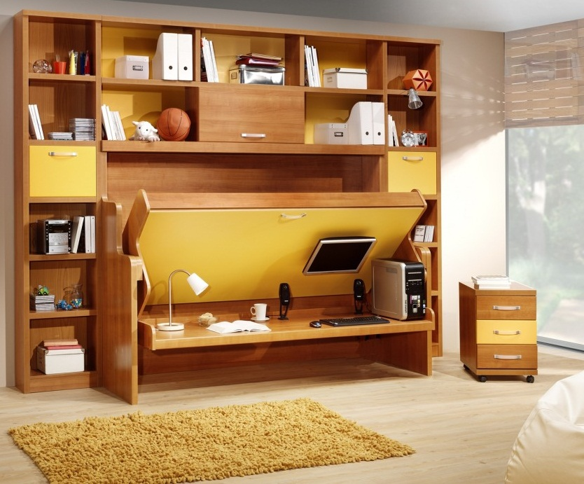 small apartment storage furniture  light wooden bed pic 01