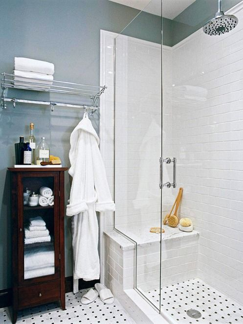 Small master bathroom remodel ideas subway tile shower for Small bathroom high ceiling