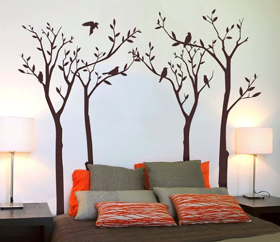 Bedroom Wall Stickers Bedtime Nature Tree with Birds Vinyl Tree Wall Decal Wall Sticker Art
