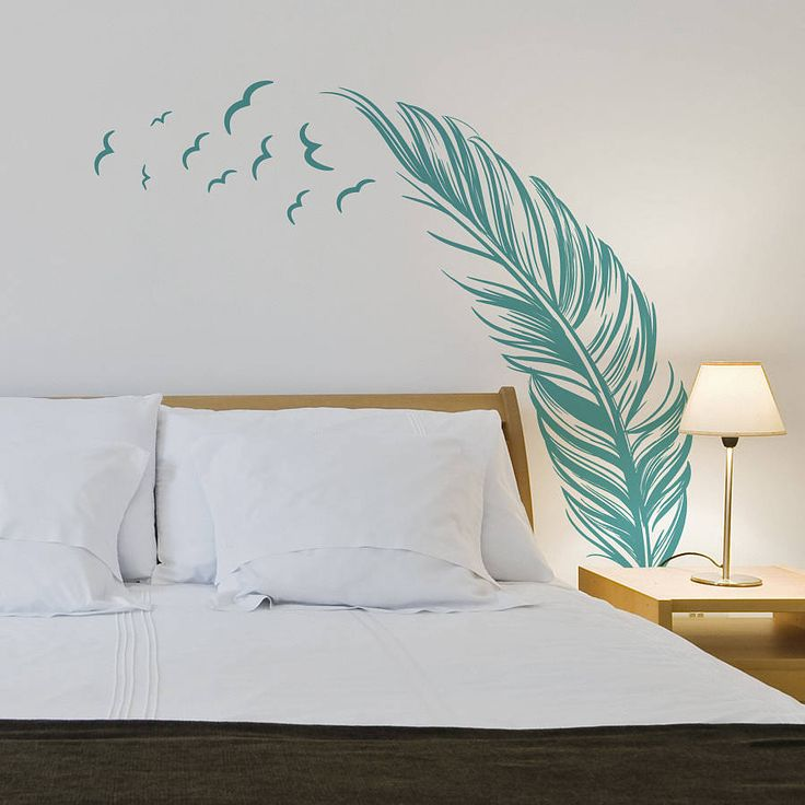 Bedroom Wall Stickers Feather With Birds