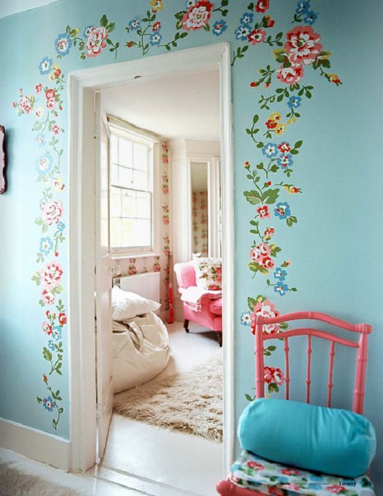 Bedroom Wall Stickers Spray Flowers Giant Wall Stickers