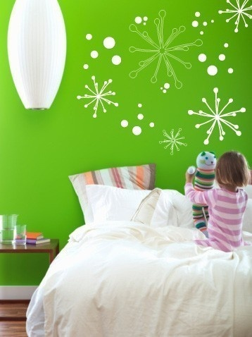 Bedroom Wall Stickers Starbursts Vinyl Wall Sticker Decal Art Green Color
