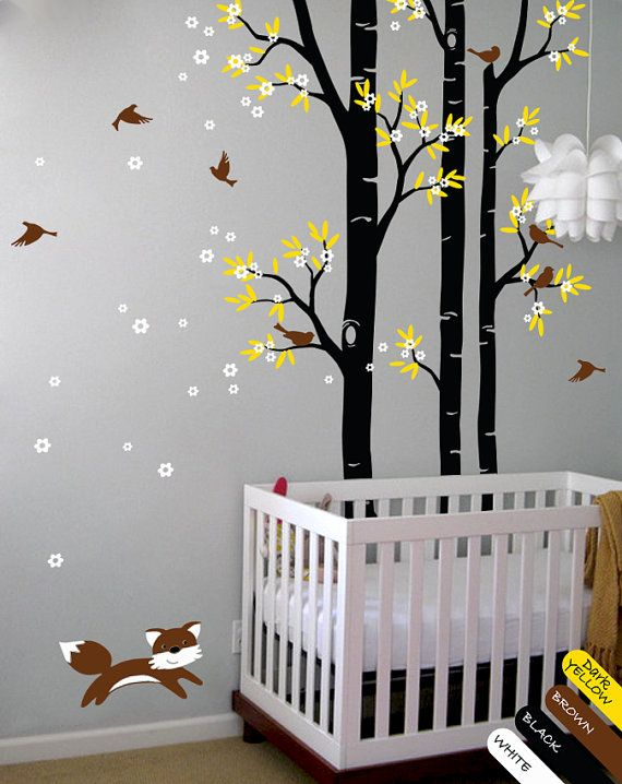 Bedroom Wall Stickers Tree Wall Decal Fox Birds Wall Decals Flower