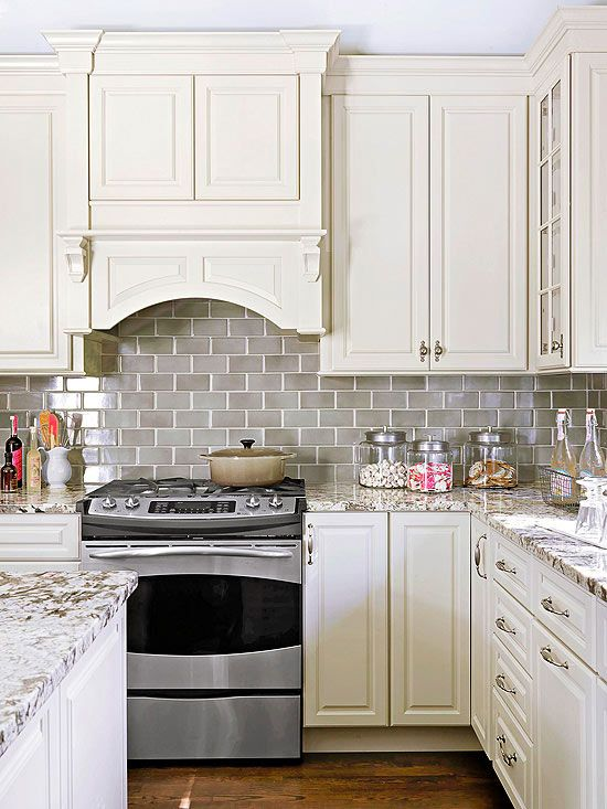 Perfect Smoke Gray Glass Subway Tile Backsplash White Shaker Cabinets, Neutral Quartz Countertop ...