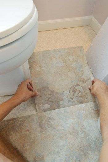 Best Laminate Floors Stick-Down Laminate Tiles in a Bathroom