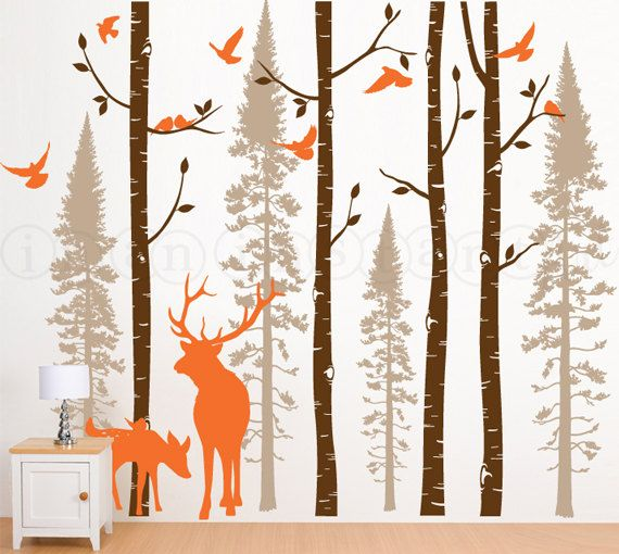 Birch Tree Wall Decal for Nursery Birch and Fir