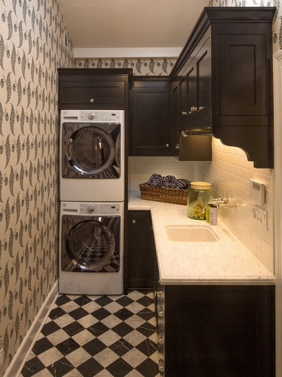 Black and White Small Bathroom Design Hide a Washer and Dryer CheckeredTiles Floor, Stacked Front-Load