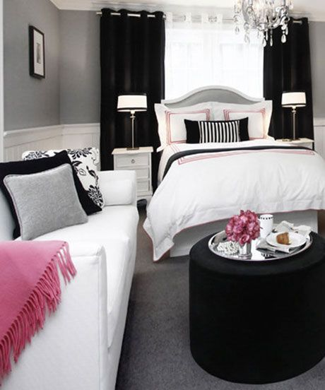 Briliant Small Bedroom with White Bedroom Furniture Combine with Black Color