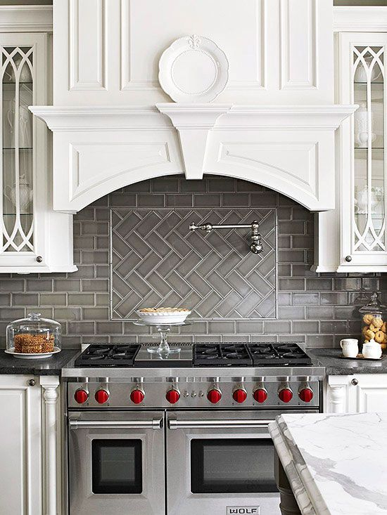 Classic backsplash subway tile nothing beats the traditional subway tile try with herringbone - Traditional kitchen tile backsplash ideas ...
