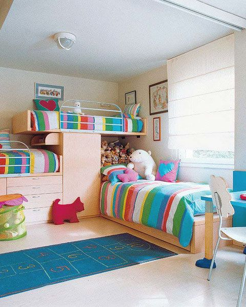 Colorful Girl Bedroom Design  Rainbow Stripe Bed Linen Bunk Beds For Three Childs