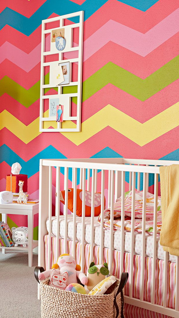Colorful Girl Bedroom Design chevron walls