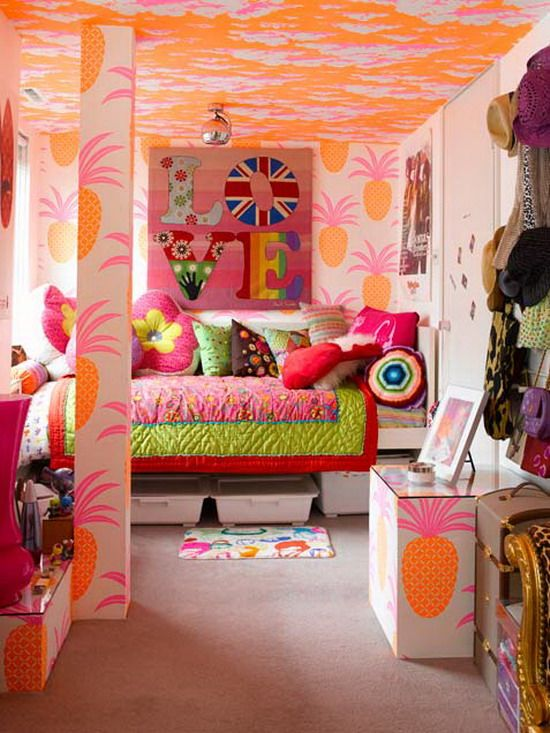 Colorful Girl Bedroom Ideas A little much on the walls, like the rest and maybe tone down the paintings on the wall