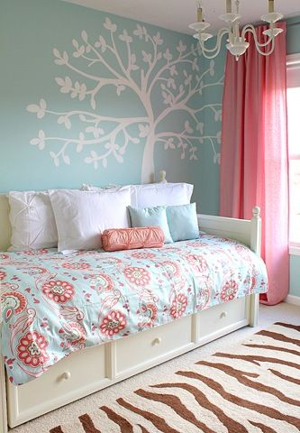Colorful Girl Bedroom Ideas blue and pink girls room for customized wall murals