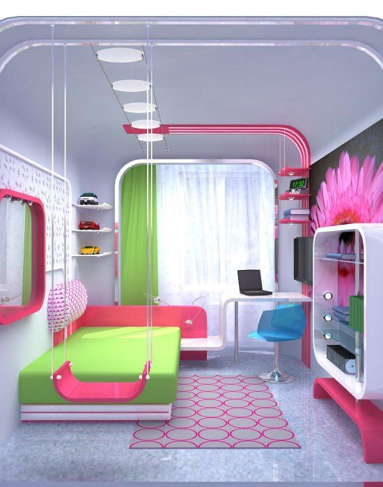 Colorful Girl Bedroom Ideas clear door on that closing bookshelf thingy, and the swing