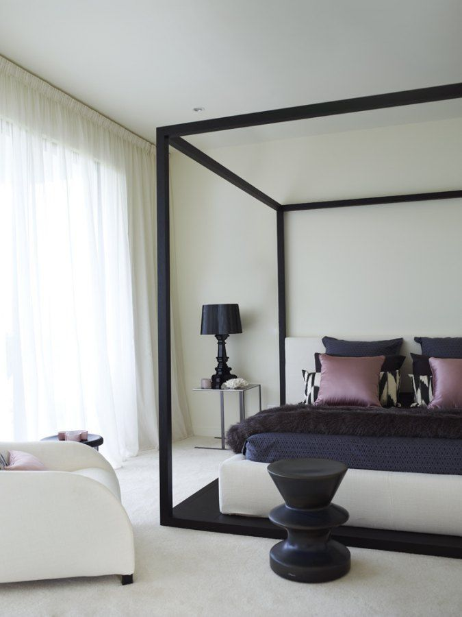 Contemporary four poster canopy bed black Pictures 05