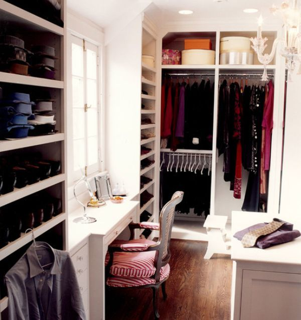 Cool Small Walk in Closet Ideas with Chandelier, Vanity, Window Built-in Storage Spaces