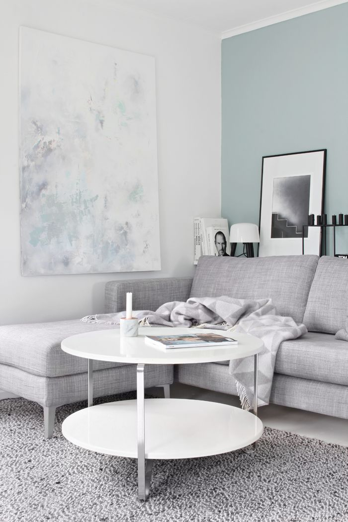 Teal Accent Wall In A Light Gray Living Room Blue Paint Colors For Living Roo