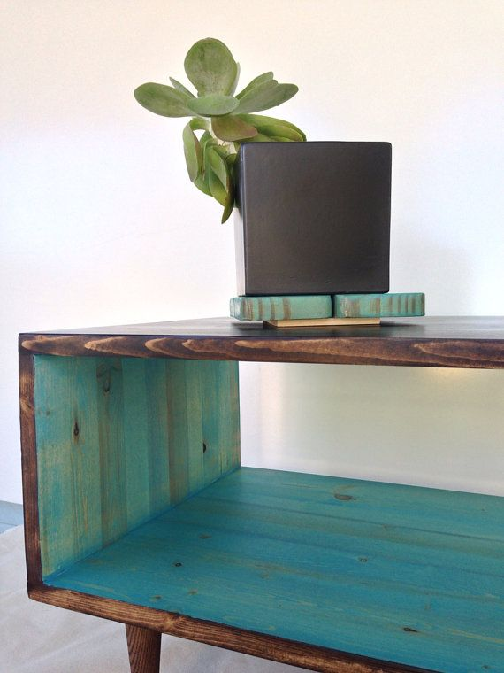 Decorating Mid Century Modern Furniture Coffee Table Handmade Light Teal and CHOCOLATE Brown