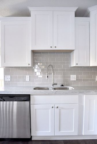 fresh grey subway tile backsplash kitchen with the white