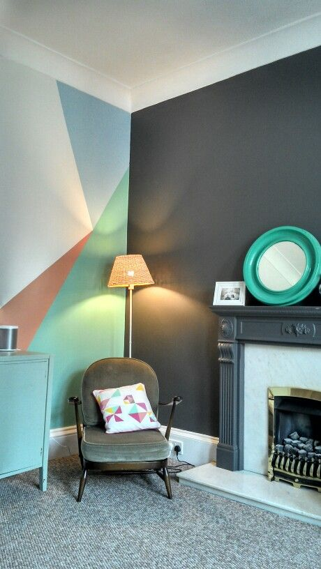 Geometric painted wall idea recent paint colors for living rooms