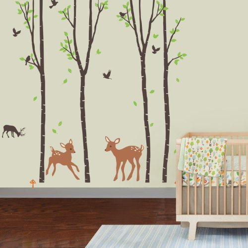 Giant Tree Wall Decal for Children's Room - Wall Sticker  Birch Tree Forest with Deers and Flying Birds Baby Bedroom
