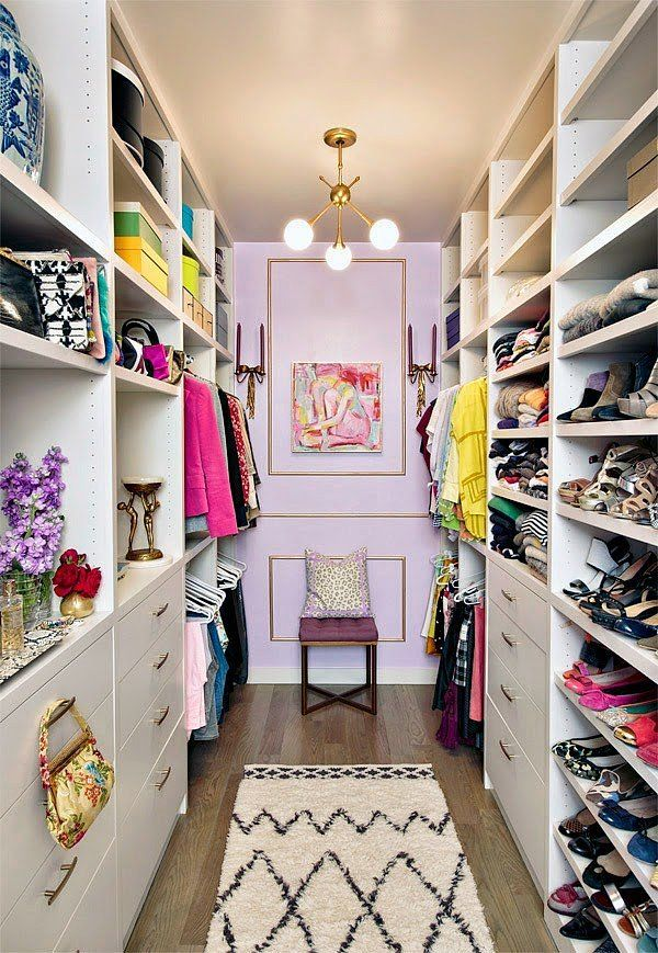 Glamorous Walk in Closet Organization Ideas with Nice Lighting