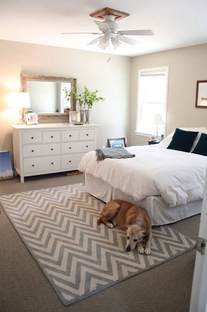 Inspiring white bedroom furniture with perfect rug placement