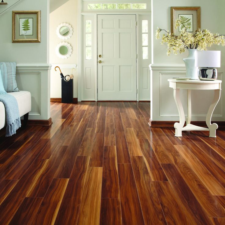 Laminate Plank Flooring Pergo Max 5-in W x 3.97-ft L Visconti Walnut High Gloss Laminate Wood Planks
