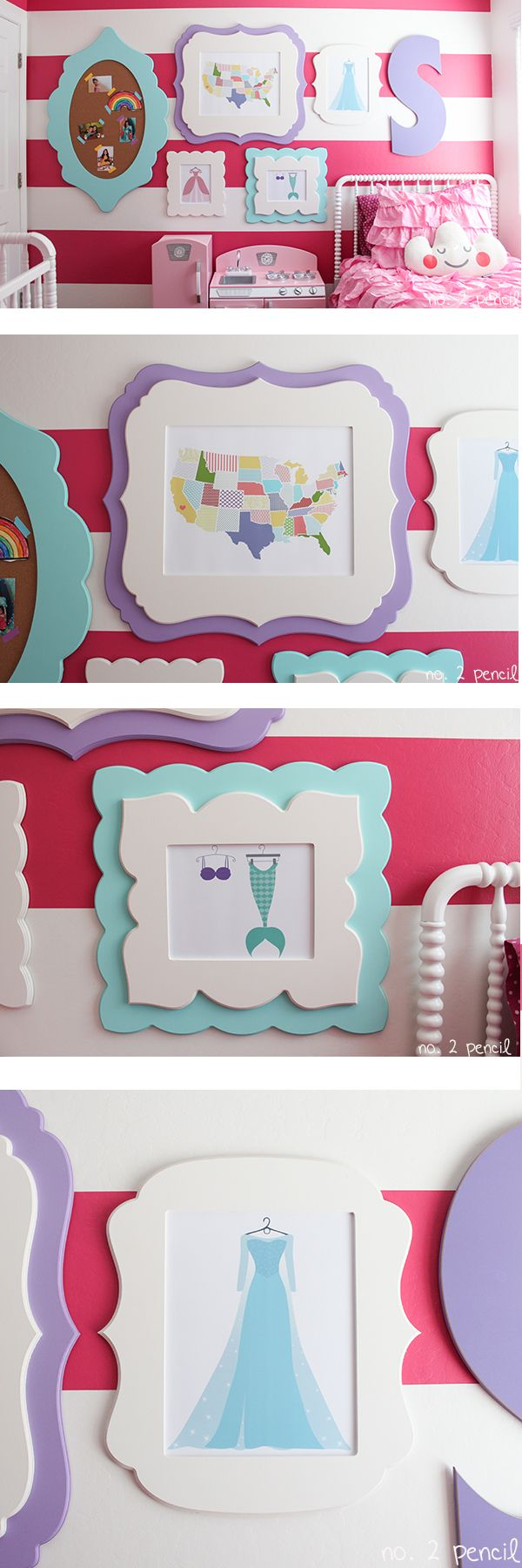 Little girl bedroom colors colorful diy gallery wall for for Diy little girls room
