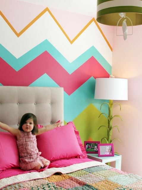 Little Girl Bedroom Colors fun chevron girl bedroom design games