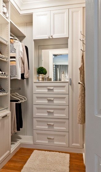 Nice Small Walk in Closet White Chocolate Textured Melamine Recessed Panel Doors and Drawer Fronts, Crown and Base Moldings