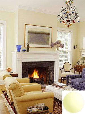 Pale Yellow Popular Paint Colors for living rooms Glidden Candle Glow with Fireplace