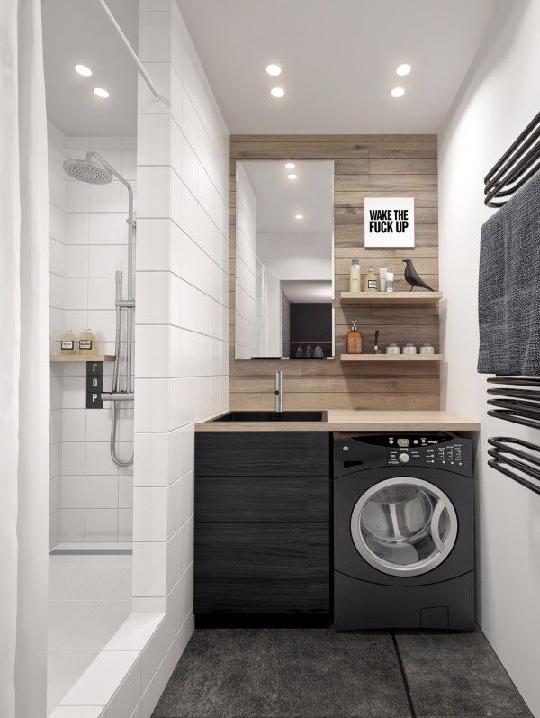 Perpect Small Bathroom Design with Built in Laundry Tucked Under the Counter