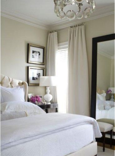 Pretty White Bedroom Furniture on Small Space with Big Mirror